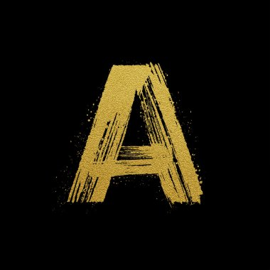 Gold glittering brush hand painted letter A
