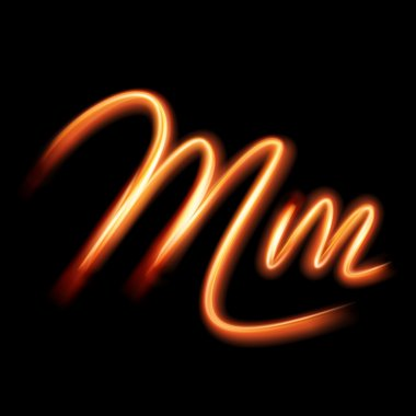 Glowing light letter M.  Hand lighting painting