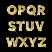 Zlaté třpytivé kovové abeceda sada O až Z velkých.
