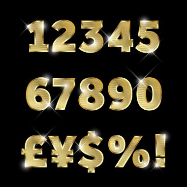 Set of gold glittering metal alphabet, numbers and currencies