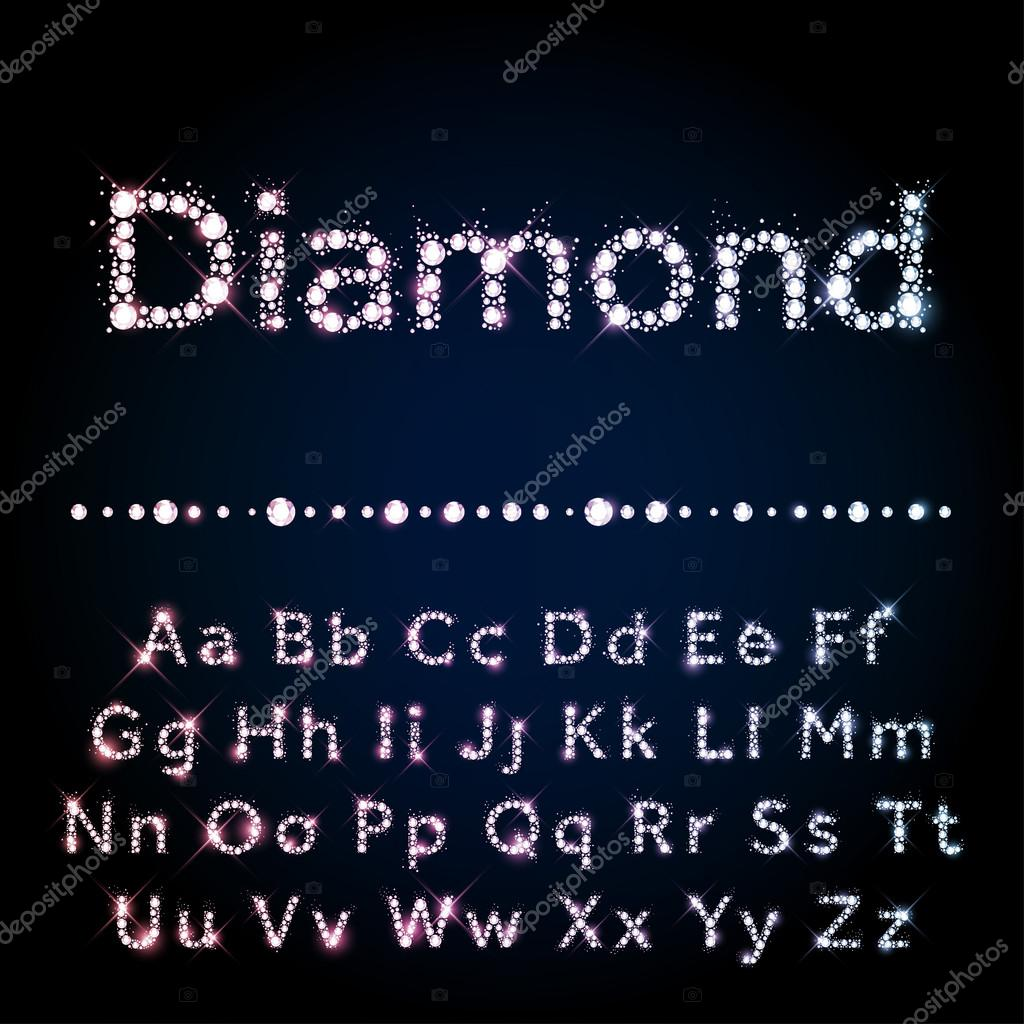 Shiny diamond font set A to Z uppercase and lowercase