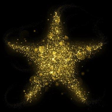 Gold glitter star of blinking stars