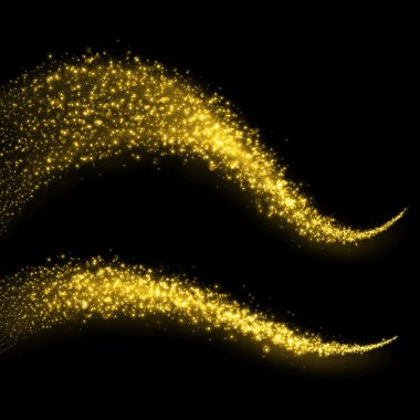 Gold glittering bokeh stars dust tail.