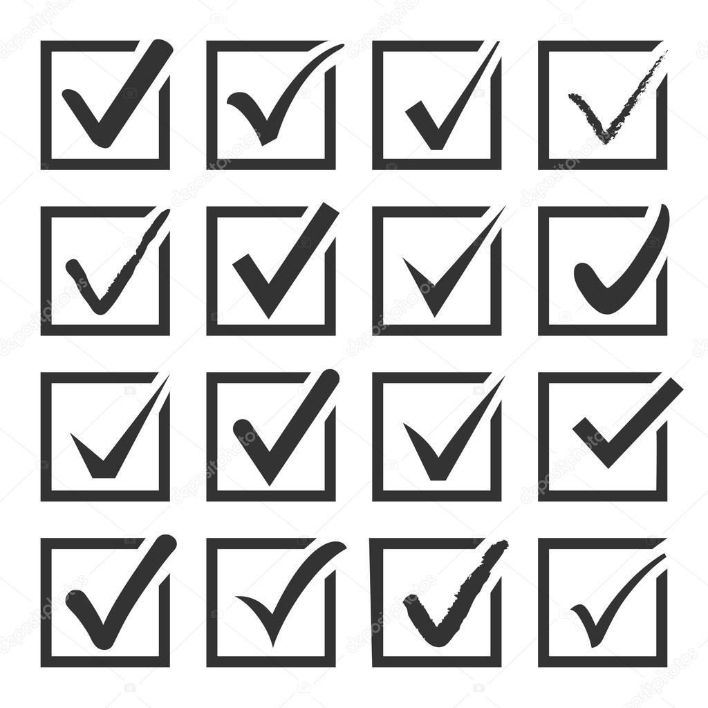 Vector set of black confirm check box icons.