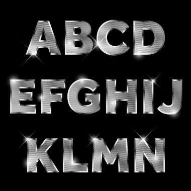 Silver metal alphabet set A to N uppercase.