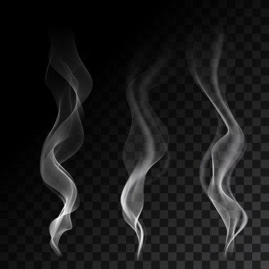 White steaming cigarette smoke waves on transparent background. Vector illustration. stock vector