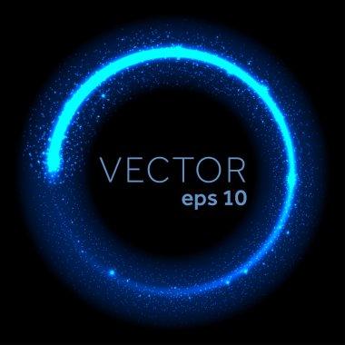 Neon blue glittering star dust circle