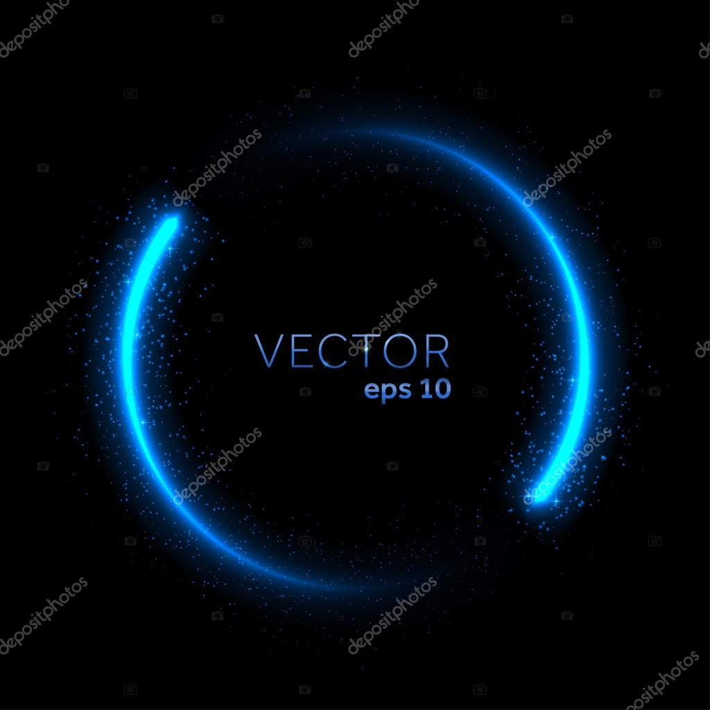 Double neon blue glittering star dust circle