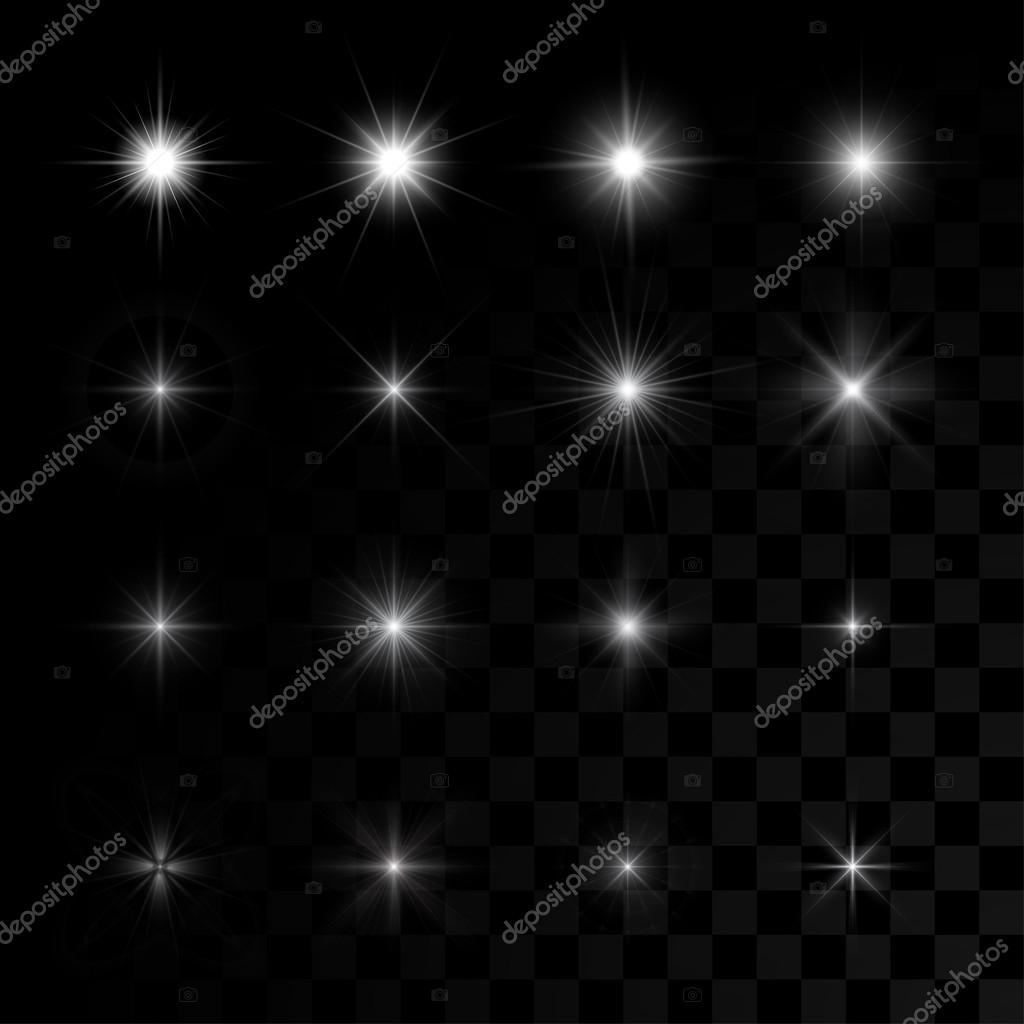 Set of vector glowing stars sparks