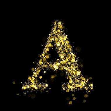 Sparkling letter A of glittering stars bokeh