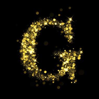 Sparkling letter G of glittering stars bokeh
