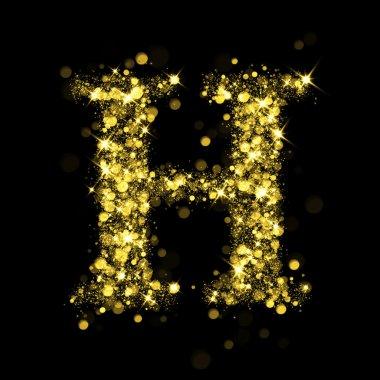 Sparkling letter H of glittering stars bokeh