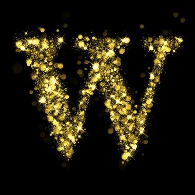 Sparkling letter W of glittering stars bokeh