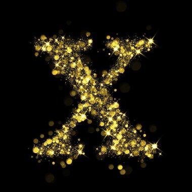 Sparkling letter X of glittering stars bokeh