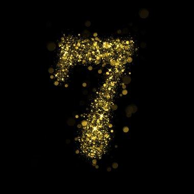 Sparkling number 7 of glittering stars bokeh