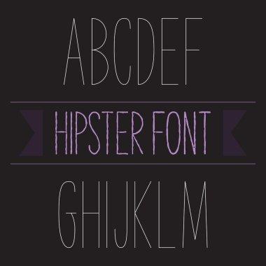 Modern minimal hipster font alphabet set A to M Thin