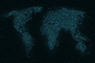 World map of glittering sequins on black background