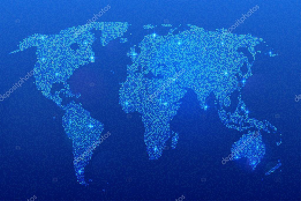 Wereldkaart van glinsterende pailletten op blauwe achtergrond