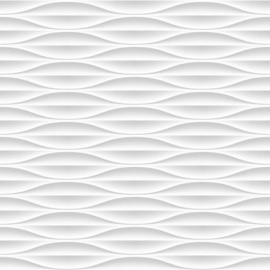 White seamless texture. Wavy background. Interior wall decoration. Vector interior panel pattern. stock vector