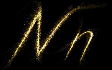 N letter of gold glittering stars dust flourish tail