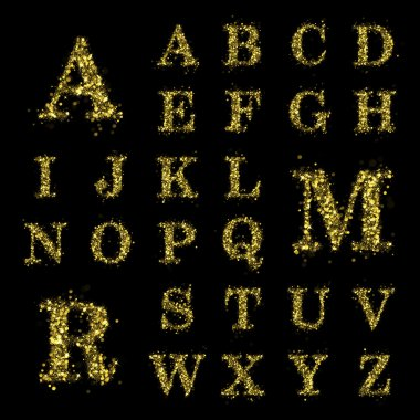 Sparkling golden glitter sequins font set A to Z