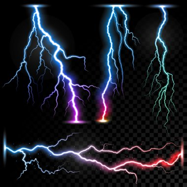 Vector realistic lightnings thunderbolt