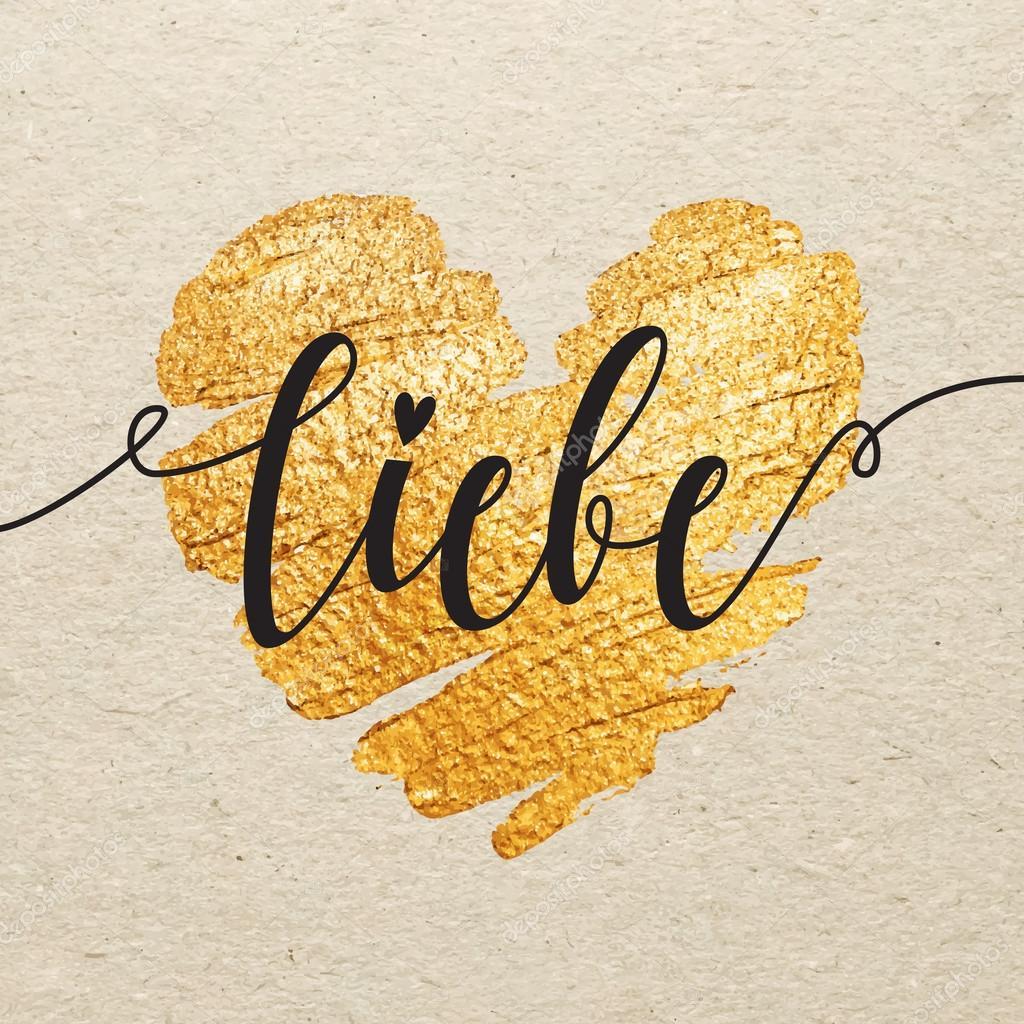 Niemiecki Walentynki Dzień Karta Liebe Kaligrafia Napis Na Złoto