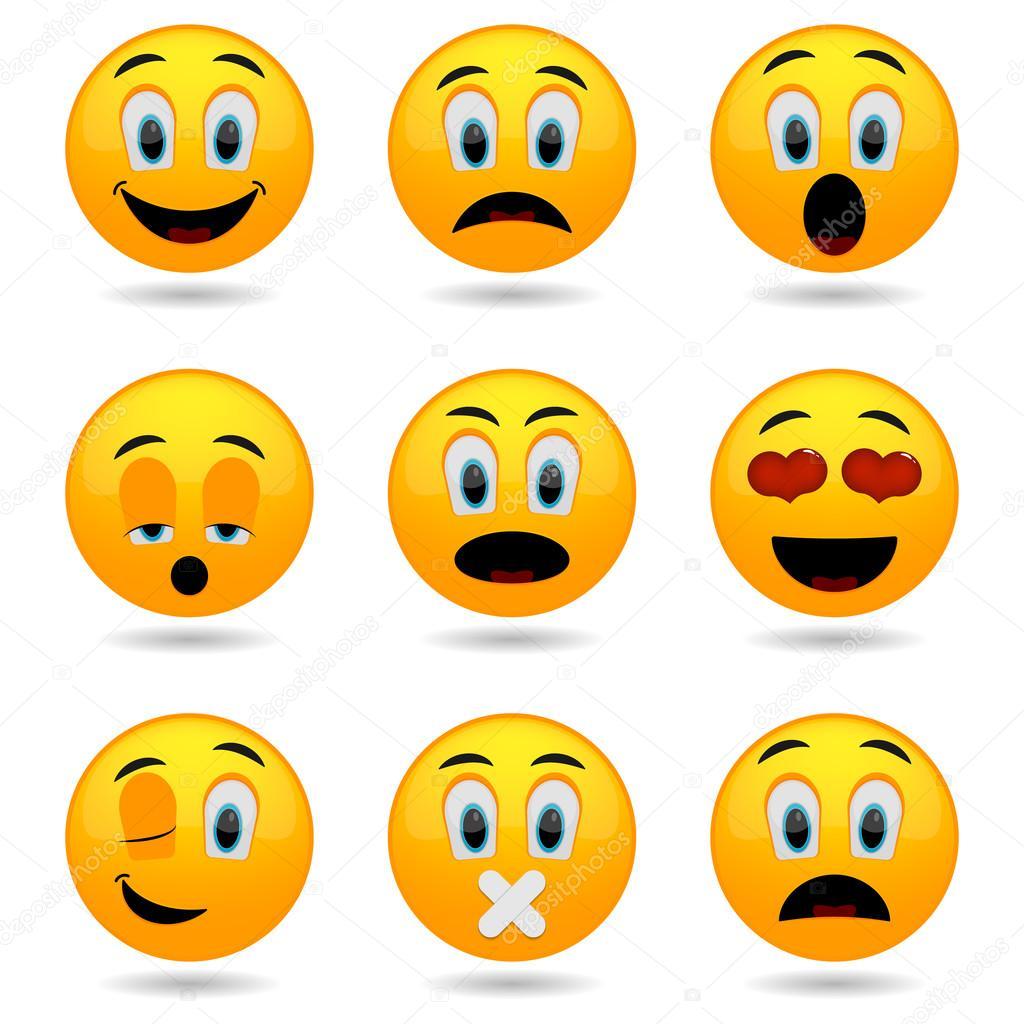 Depositphotos Stock Illustration Set Of Emoticons Smile Icons Emoticon Faces Happy Sad