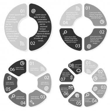 Set of vector round infographic diagrams