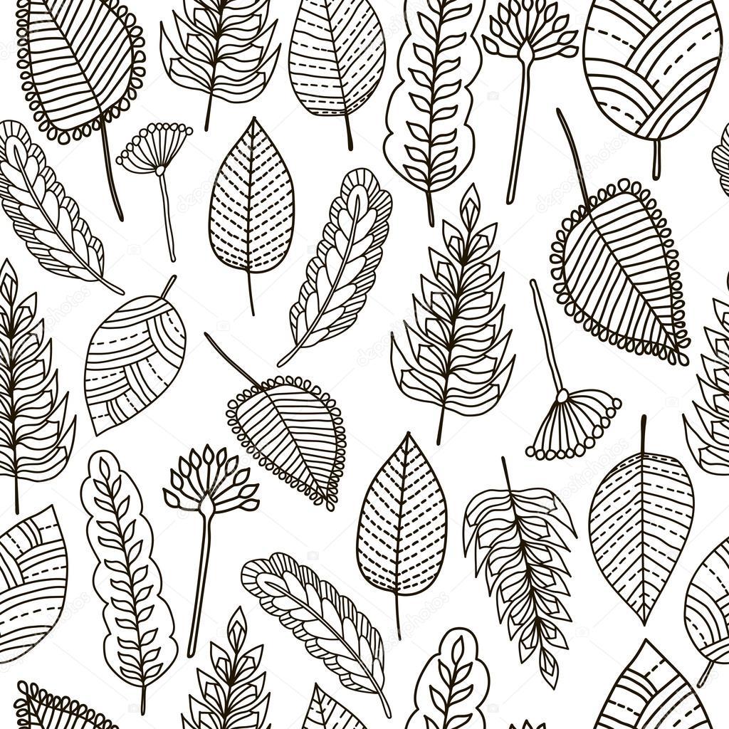 Patrón transparente floral. Fondo de hojas. Dibujado a mano. Para ...