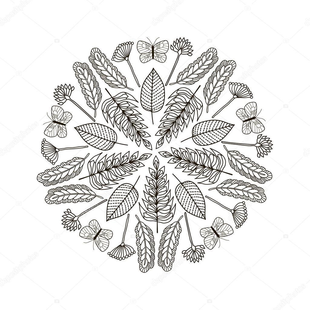 Dibujado a mano las hojas y mariposas fondo de círculo. Negro y ...