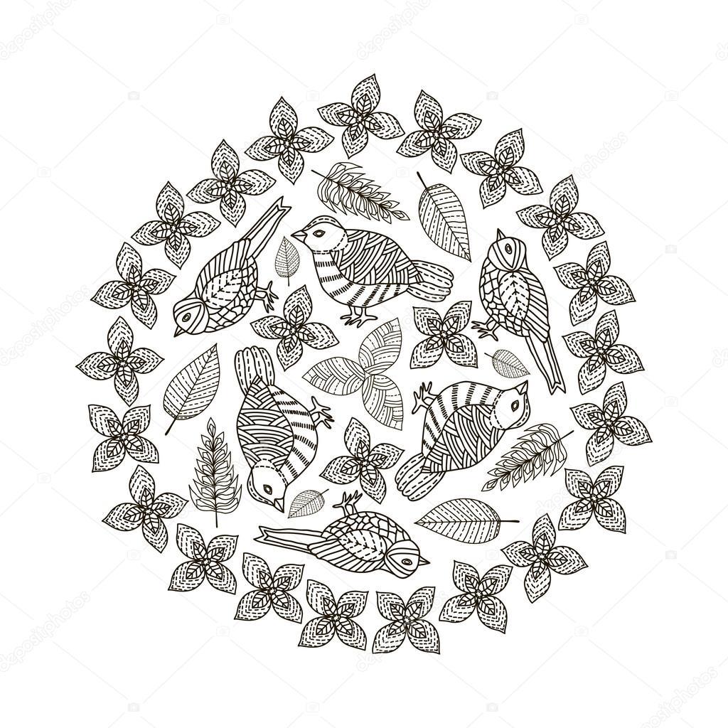 Pájaros dibujados a mano y hojas del círculo de fondo. Blanco y ...