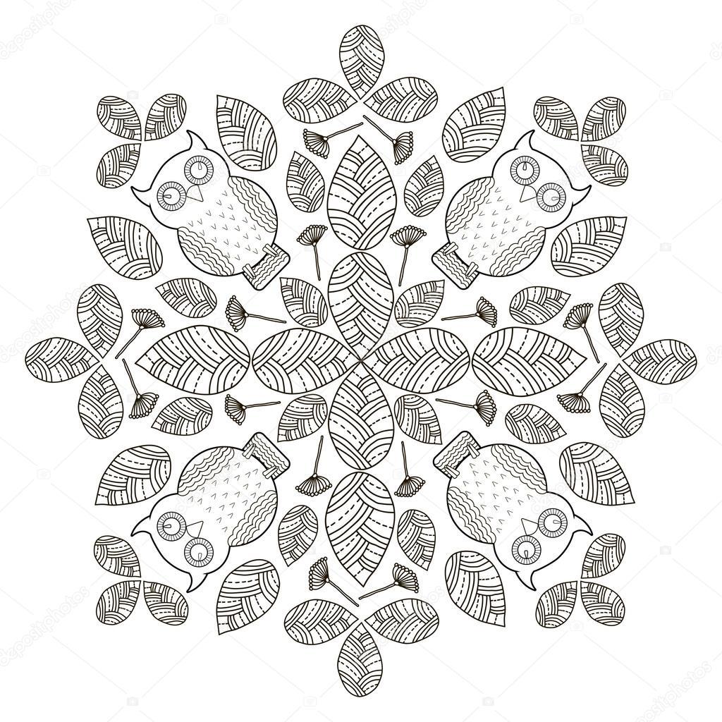 Mano dibujar hojas con aves, Fondo de círculo. Blanco y negro ...