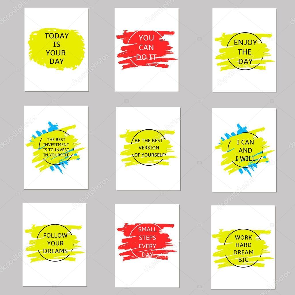 Motivation-Karten auf der bunten Stelle. Vorlagen-set — Stockvektor ...