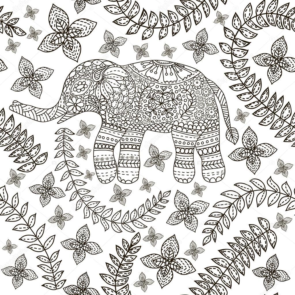 Handgezeichnete Elefant mit ethnischen floral doodle Muster. Färbung ...