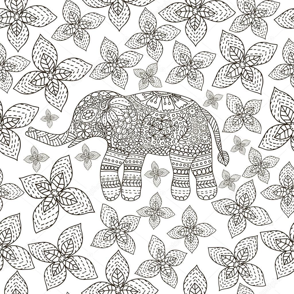 Elefante de mão desenhada com étnico floral doodle padrão. Para ...