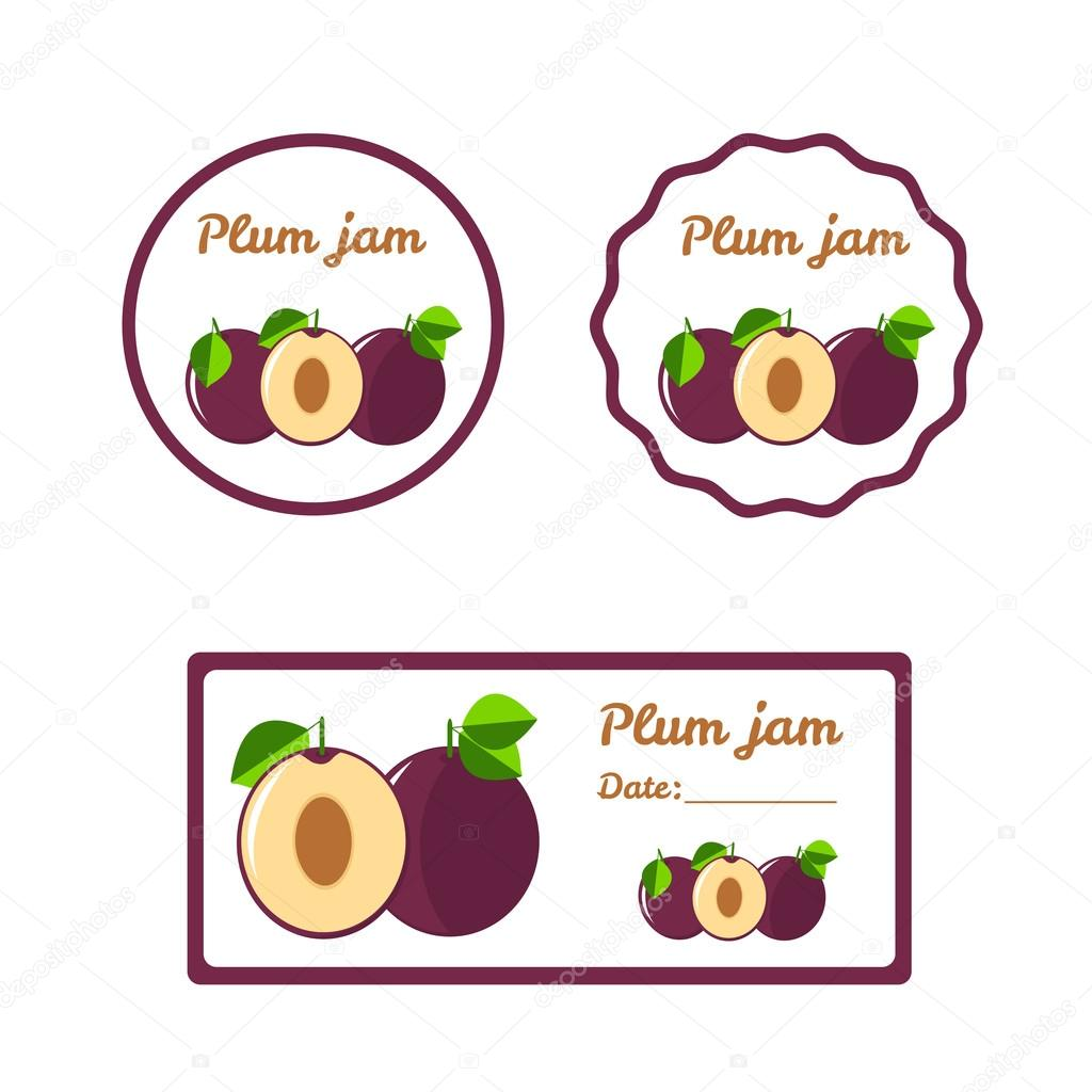 Plum Jam Colorful Label Set Stock Vector