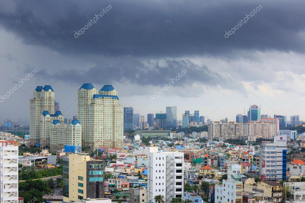 Hochiminh City, Vietnam - June 21, 2015: view of apartment buildings being built in the city of Ho Chi Minh City, Vietnam
