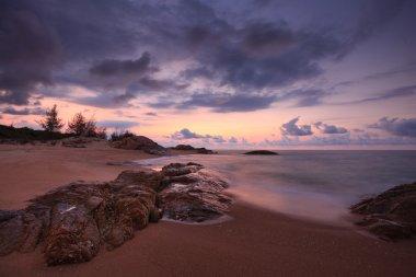 Beautiful dawn on a tranquil beach at Ho Coc Vungtau - Vietnam stock vector