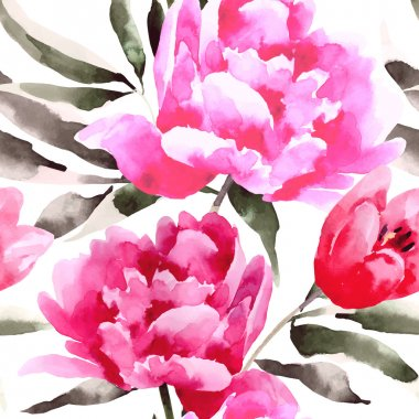 Seamless floral pattern with peonies.