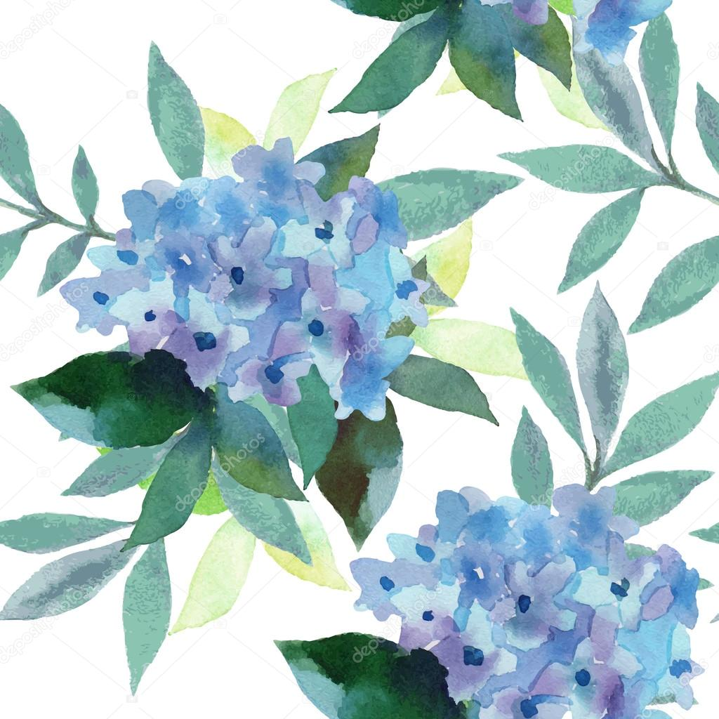 Watercolor  pattern of Hydrangea flowers