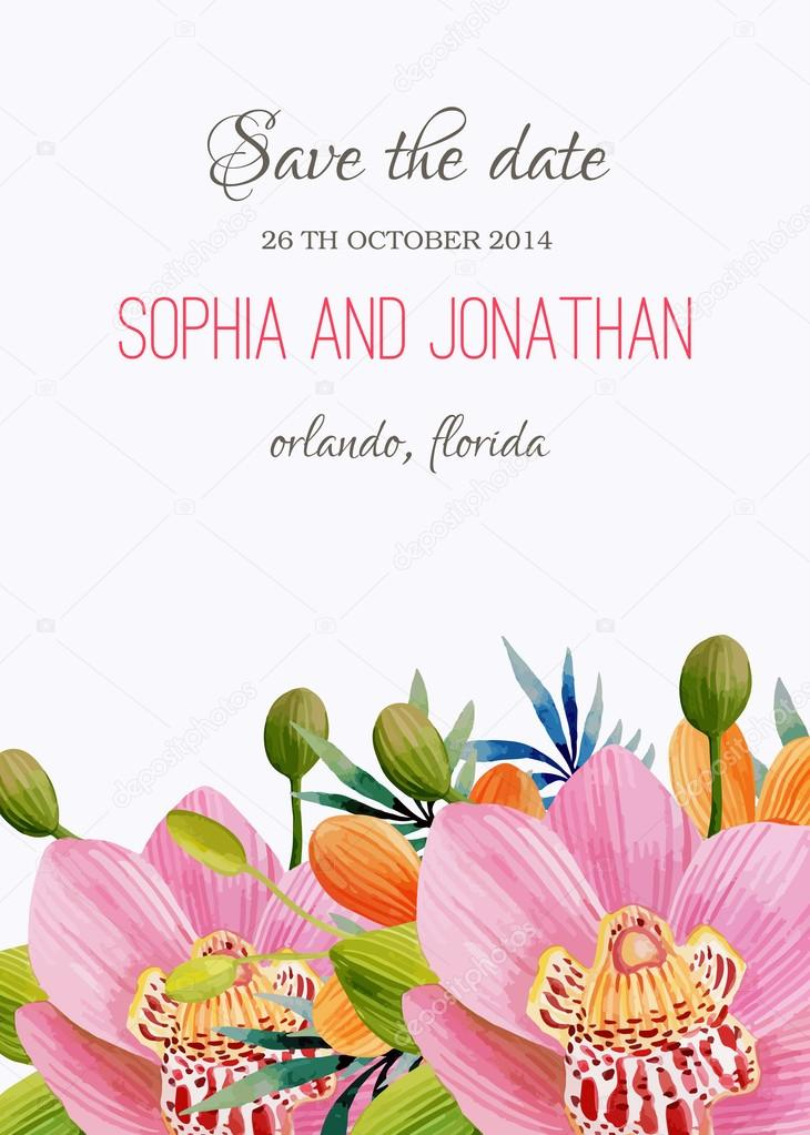 Wedding invitation watercolor with flowers stock vector wedding invitation watercolor with flowers illustration for greeting cards invitations and other printing projects vector by wolnaluna m4hsunfo