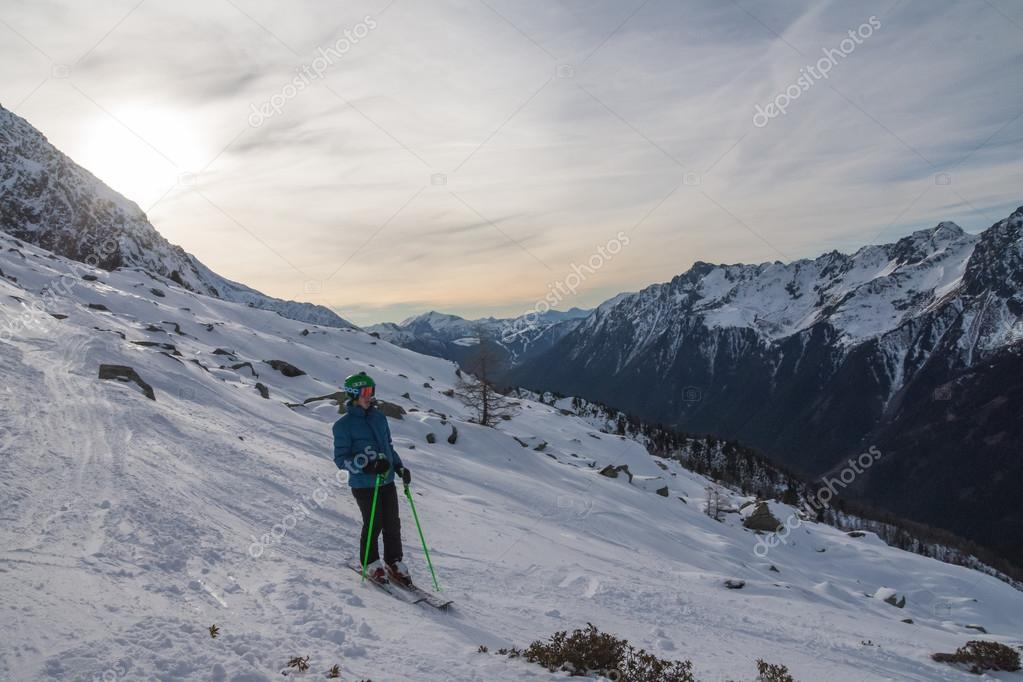 Skiing some big terrain in Chamonix, France
