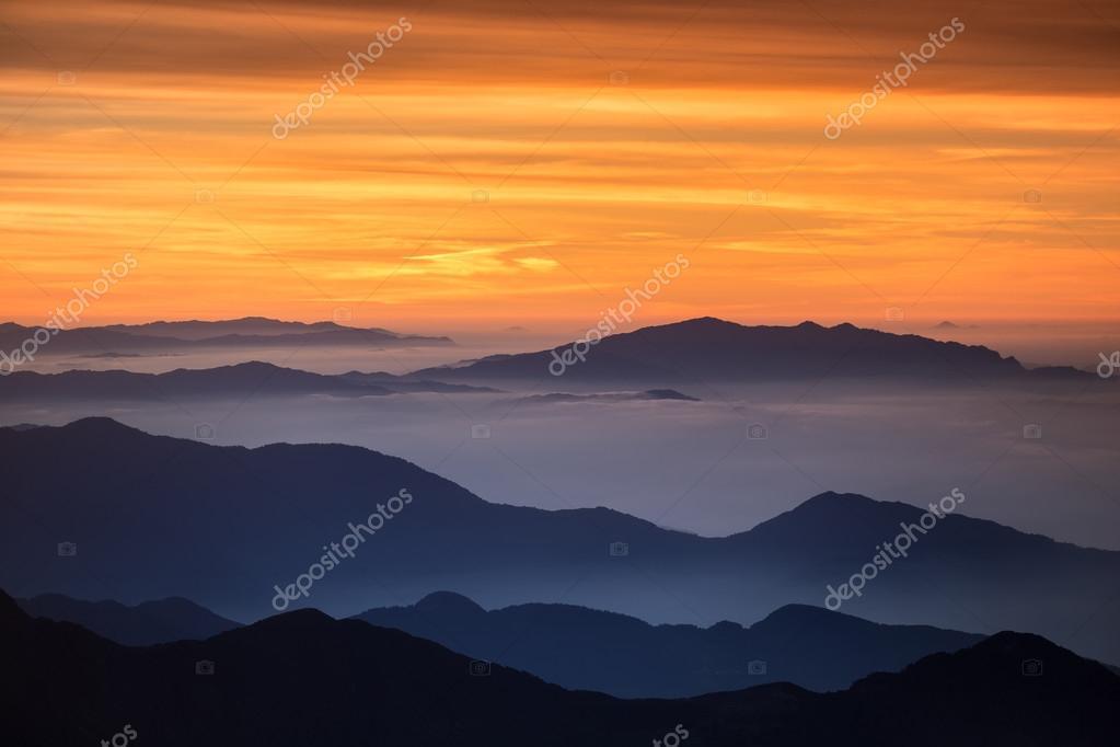 high mountain landscape in haze
