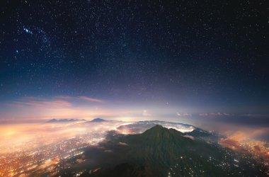 Sleeping volcano in the night