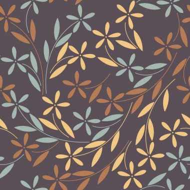 Elegant seamless pattern with colorful flowers and leaves on pur