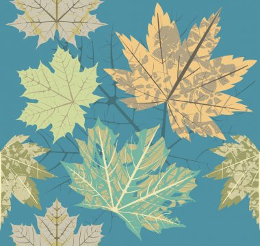 Seamless pattern with old autumn leaves