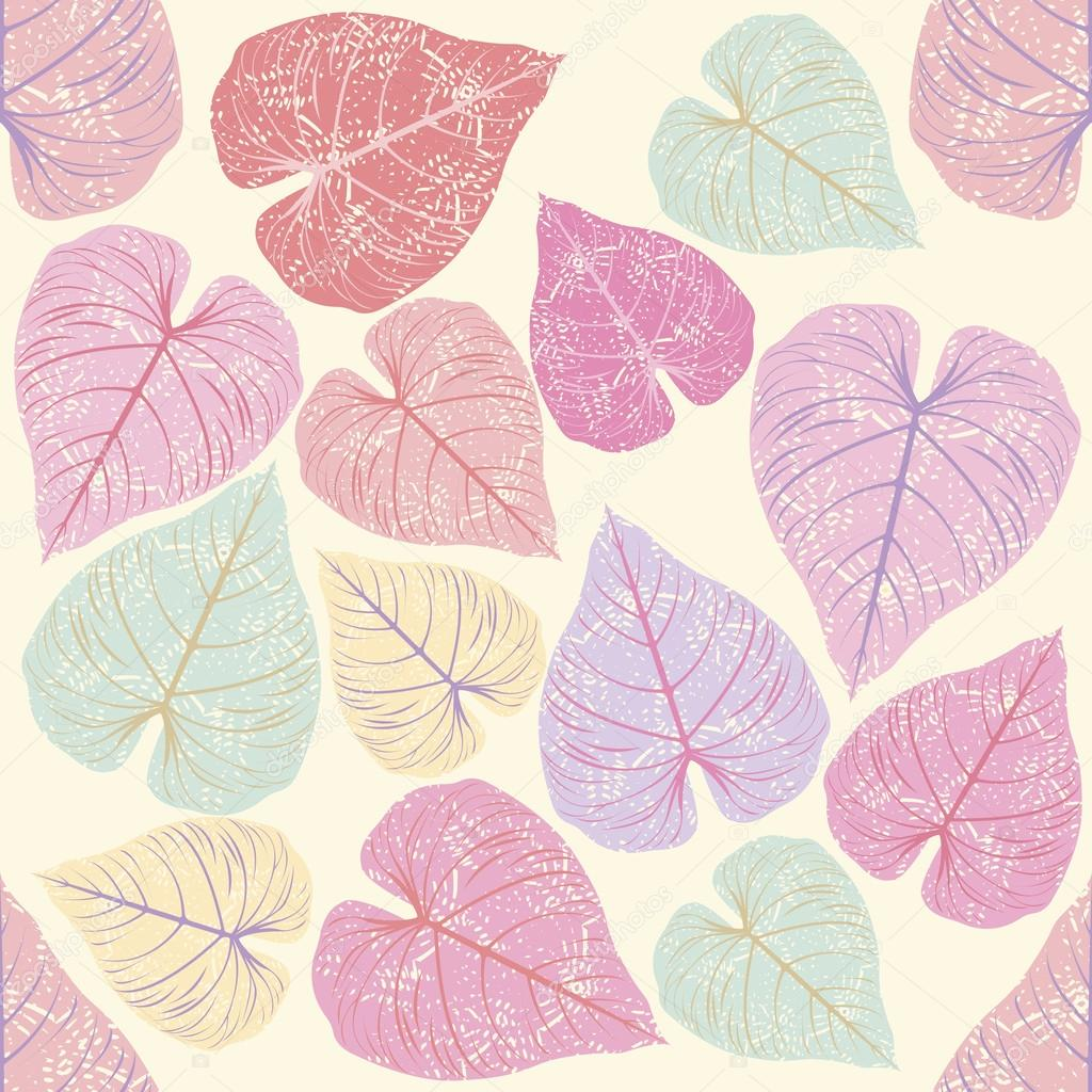 Seamless Pattern with pink leaves