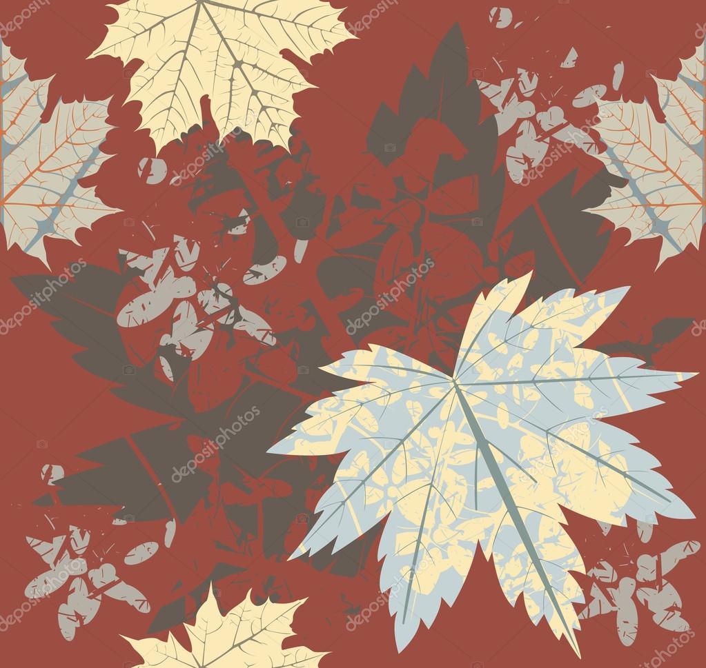 seamless pattern with retro autumn leaves stock vector da6kin