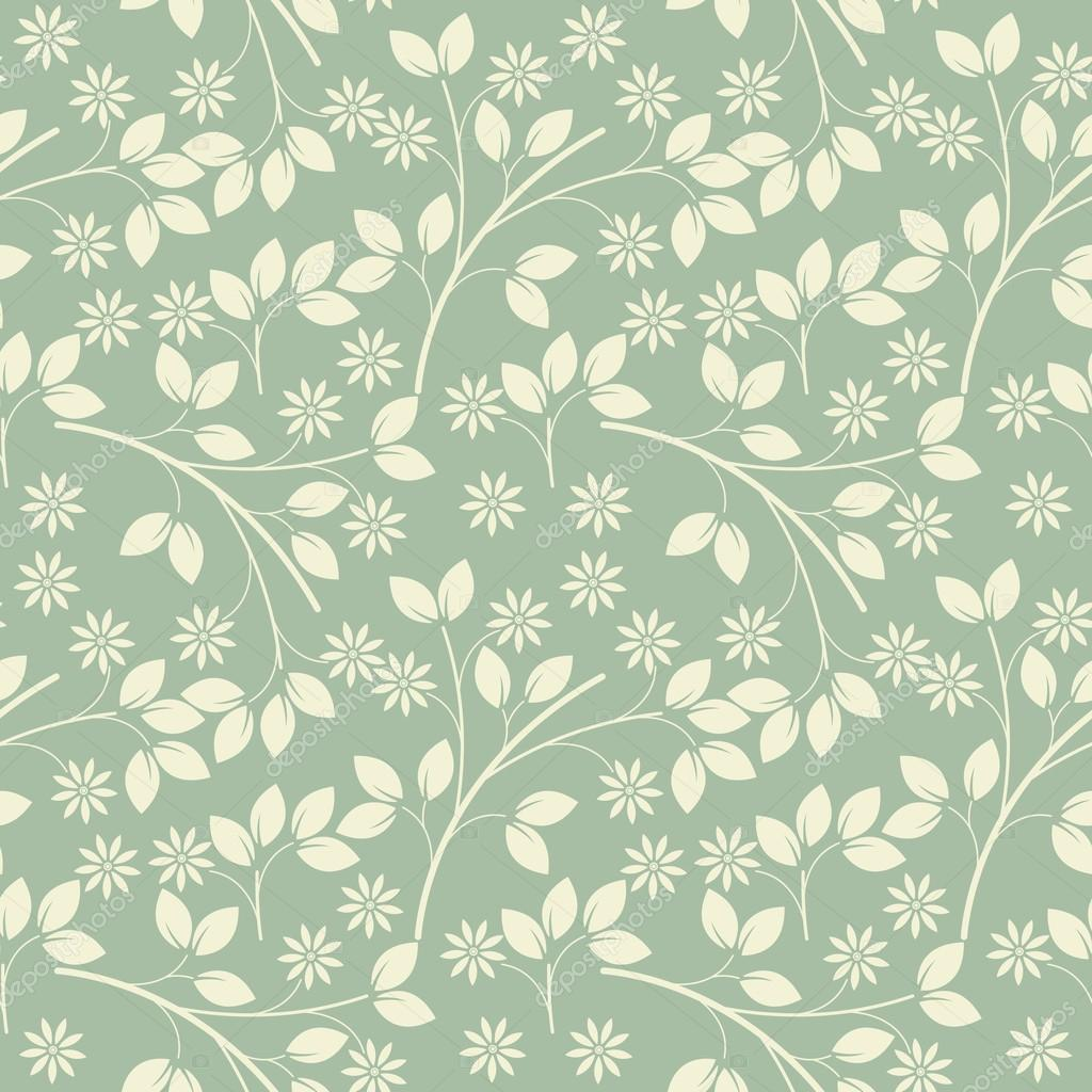 Endless Muster mit Elfenbein Blumen und Blätter auf hellgrün fre ...